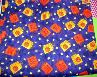 halloween Purple Quilting Fabric, Moda Patrick Lose, Trick or Treat Bags