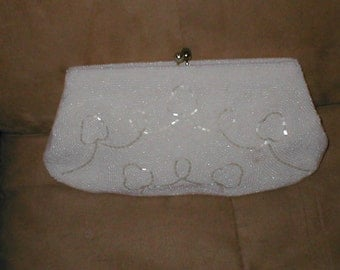 Vintage White Beaded  Clutch Purse