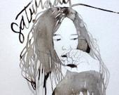 Original Monochrome Woman Female Hair Face Illustration calligraphy black sepia