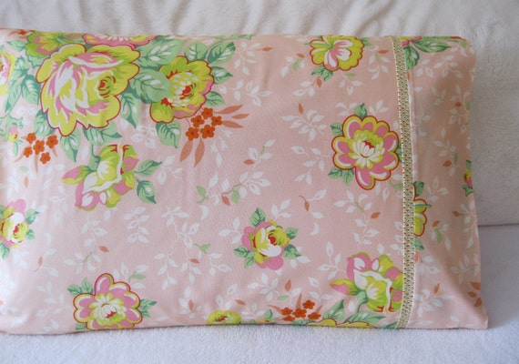 Shabby Chic Woodrose Pillowcases : SHABBY CHIC PILLOWCASE 100% Cotton Handmade Cotton by NykkiMakes