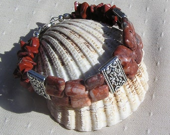 "Gemstone Crystal Bracelet, Picasso & Red Jasper ""Red Venetian"", Jasper Bracelet, Silver Bracelet, Chakra Bracelet, Orange Bracelet, Aries"