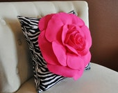 Hot Pink Rose on Zebra Pillow 14x14 Home Decor Pillows Girls Room Decor