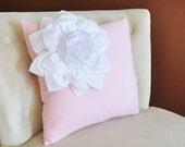 White Corner Dahlia on Light Pink Pillow  -Baby Nursery Pillow- Light Pink Decor