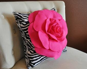 Hot Pink Rose on Zebra Pillow 14x14 Home Decor Pillows Girls Room Decor