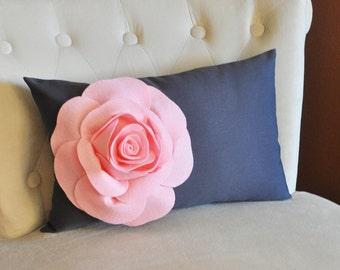Baby Pink Rose on Charcoal Gray Lumbar Pillow -Decorative Pillow-