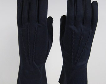 6-7-Vintage Womens Dark Blue Dress/Church/Prom Gloves - 10 inches long(361g)
