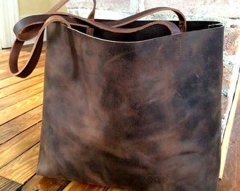 Brown Leather Tote Bag Large brown leather bag Distressed