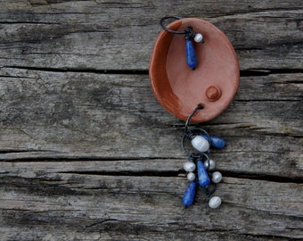 SALE Terracotta petal with pearls and lapis lazuli - handsculpted ceramic pendant
