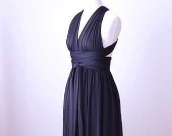 Sample Sale - Convertible/Infinity Dress with Chiffon Overlay in Dark Navy - Size S/M
