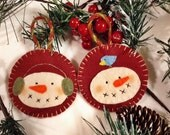 A Pair of Primitive Snowmen Ornaments