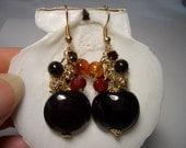 Gold dangle earrings, orange, red, gold plated, long earrings, dark red, glass beads, cluster earrings, garnet, autumn special, earth colors