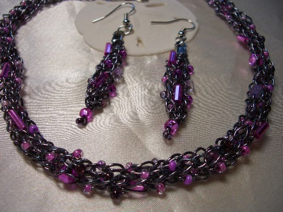 reserved listing for Rivka, hypoallergenic necklace and earring set, purple and pink, hand knit, metallic lame thread