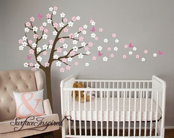 Nursery Wall Decals. Cherry blossom tree wall decal with butterflies. Custom tree wall decal for boys and girls rooms.
