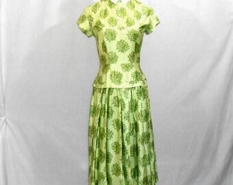 20's Dress Short Sleeve Dress Green Floral Print Dress Women's Summer Dress Women's Vintage Dresses