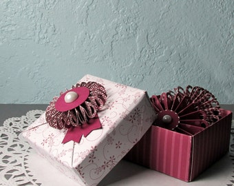 Origami Box and 2 Rosette Magnets Handmade 3x3 Small Folded Paper Box With Fanned Pinwheel Magnets