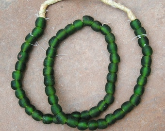 Ghana Glass Beads: Forest Green (9x9mm)