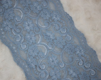 """2 yards Light Denim Blue  galloon floral scalloped stretch lace 6"""" wide"""