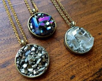 Full Moon Pendant, Crystal Necklace/ Quartz Crystal Moon Necklace/ Natural Gem Stone/ Drusy Pendant/ Cushed Pyrite/ Titanium Quartz