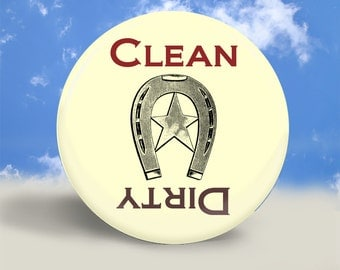 Western Clean Dirty Dishwasher Magnet - 2.25 Inches