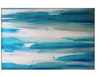 Large Abstract Painting on Canvas Contemporary/Modern Minimalist Painting  - 40x60  Blues, Grays, and more
