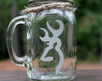 1 Mason Jar Mug Browning buck, Engraved Mason Jar Mug, Custom Mason Jar Mug