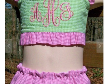 Monogram swimsuit handmade for baby, toddler and girls