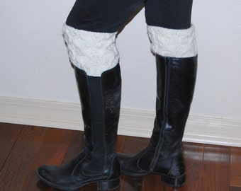 Hand knit  boot cuffs leg warmers off white cable pattern pure woll boots decorations Hand Made in USA Colorado