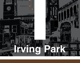 CTA L Stop Sign: Irving Park (Brown Line)