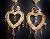 Gold Heart earrings,Chandelier Earrings, Purple Gold Earrings,Long Purple Crystal Earrings by TANEESI