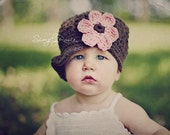 Crochet Baby Hat in Brown with Pink Flower - Hats for Baby Girl, Baby Newsboy Hat, 0 to 12 Months