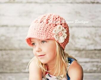 Baby Crochet Hats, Newborn Girl Hat with Visor, Crochet Newsboy Hat for Infant Girl, Peach, Off White, Cotton, Newborn Size
