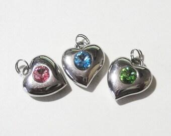 Silver Heart Charms - Crystal Heart Pendant - Heart Bracelet Charm Beads - Pink Blue Green Peridot Swarovski - 3 PCS - DIY Jewelry Findings