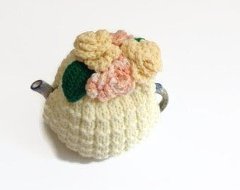 tea  cosie cozy hand knitted with lemon  crochet roses