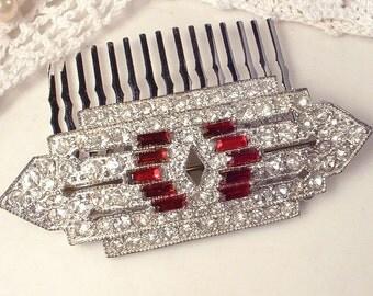 1920s Red Brooch / Hair Comb, Vintage Art Deco Ruby Rhinestone Silver Bridal Dress Sash Brooch OR Hair Piece Great Gatsby Wedding Headpiece