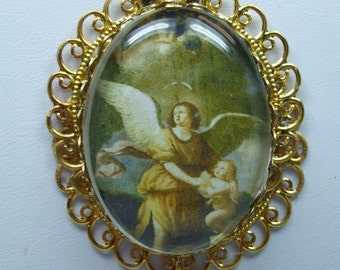 Guardian Angel Vintage Portrait Domed Glass Necklace Pendant- Super  UNIQUE-Included Lovely Poem Card-Several Choices Available