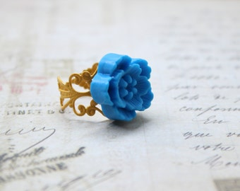 Yellow and Blue Spring, Summer Feel Adjustable Ring