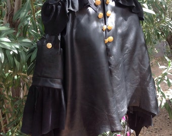 showdiva designs Leather Asymmetrical Cropped Swing Jacket with Military Influence n Ruffles