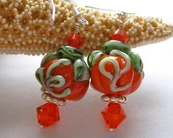 Autumn Pumpkin Lampwork Glass Earrings