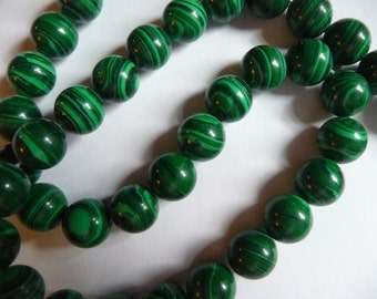 Beads, Malachite, Green, Gemstone, 10mm, Round,Mohs hardness 3-1/2 to 4, Pkg Of 12