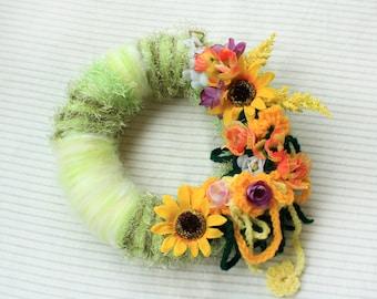 Summer Sunflowers Door Wreath, Door Green Wreath, OOAK, Sunflowers, Summer Home Decor Wreath, Crochet Fabric Flowers, Front Door Decoration
