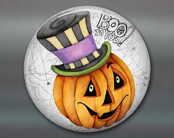 halloween fridge magnet, pumpkin magnet, kitchen decor, jack o lantern halloween decoration, fall magnet  MA-1375
