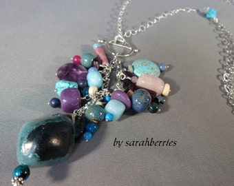 Necklace Pendant: Blue Stone Agate Sterling Silver Beaded Chain by sarahberries, 140001AP