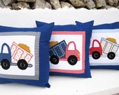 3  Pillowcases  appliqued embroidered - Trucks -  Kid's room Holiday Gift Boys Bedroom Decor