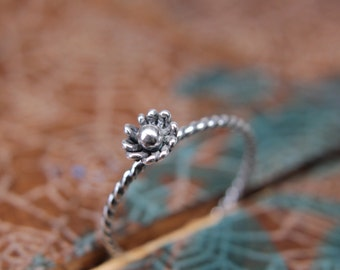 Delicate Sterling Silver Flower Bud Ring. Tiny sterling silver floral stacking ring. Botanical theme springtime jewelry.