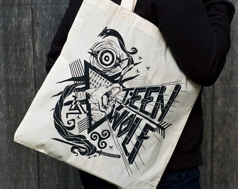 Final Print Run // Teen Wolf Bag // Teen Wolf Tote Bag // Teen Wolf Howling Wolf Hand Screen Printed Bag
