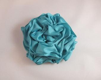 Ribbon Rose Pin-Hair Clip-Brooch-Aqua-Blue