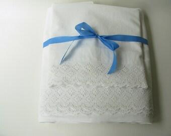 Vintage Sheet and Pillowcase Set, White Cotton Eyelet
