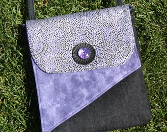 Crossbody Purse in Black and Purple Fabric