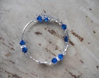 Memory Wire Bracelet, Wrap Bracelet, School Bracelet, University of Ky Bracelet, Swarovski Crystals, College Bracelet, , Blue