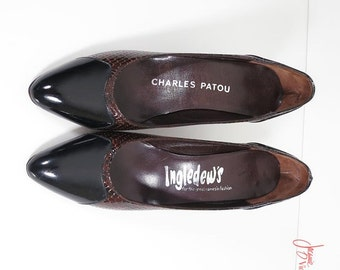 80s pumps / black brown 80s patent leather shoes / vintage leather pumps / snakeskin print shoes / Charles Patou Ingledews / size 6